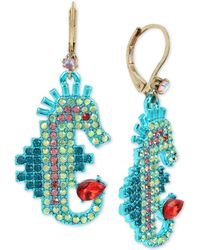 Betsey Johnson - Two-tone Multi-crystal Seahorse Drop Earrings - Lyst