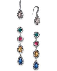 INC International Concepts - I.n.c. Day & Night Hematite-tone 2-pc. Set Coordinated Multi-stone Halo Drop Earrings, Created For Macy's - Lyst