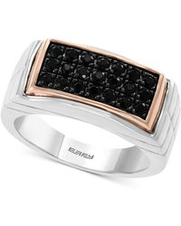 Effy Collection - Black Sapphire Ring (3/4 Ct. T.w.) In Sterling Silver & 18k Rose Gold-plate - Lyst