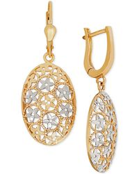 Macy's - Two-tone Filigree Drop Earrings In 10k Gold - Lyst