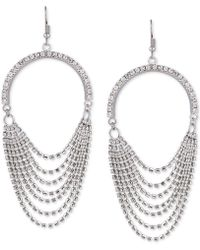 Guess - Silver-tone Crystal Cascading Chain Drop Earrings - Lyst