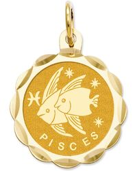 Macy's - 14k Gold Charm, Satin Polished Engraveable Pisces Zodiac Disc Charm - Lyst