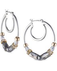 Nine West - Tri-tone Beaded Hoop Earrings - Lyst