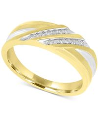 Macy's - Men's Two-tone Diamond Band (1/10 Ct. T.w.) In 10k Gold And White Rhodium Plate - Lyst