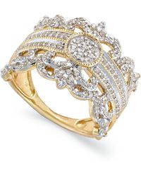 Macy's - Diamond Vintage Crown Ring In 14k Gold (3/4 Ct. T.w.) - Lyst