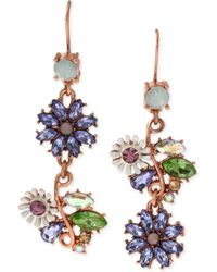 Betsey Johnson - Xrose Gold-tone Faceted Bead Flower Mismatch Drop Earrings - Lyst