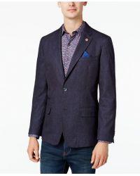 Ben Sherman - Men's Slim-fit Blue/red Neat Sport Coat - Lyst
