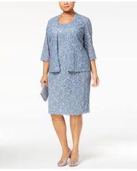 Alex Evenings - Plus Size 2-pc. Sequined Lace Jacket & Dress - Lyst