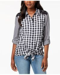 Style & Co. - Petite Mixed-print Tie-hem Shirt, Created For Macy's - Lyst