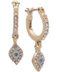 Lonna & Lilly - Gold-tone Pavé Mini Hoop Drop Earrings - Lyst