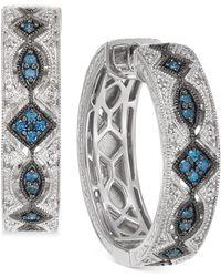 Macy's - Diamond Patterned Huggie Hoop Earrings (3/8 Ct. T.w.) In Sterling Silver - Lyst