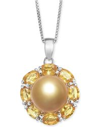 """Macy's - Cultured Golden South Sea Pearl (10mm) & Yellow Sapphire (3-1/5 Ct. T.w.) 18"""" Pendant Necklace In Sterling Silver - Lyst"""