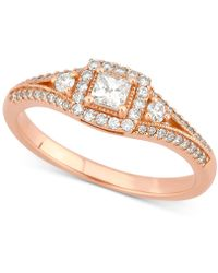 Macy's - Diamond Princess Engagement Ring (1/2 Ct. T.w.) In 14k Rose Gold - Lyst
