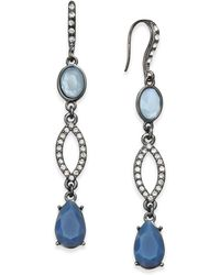 INC International Concepts - Hematite-tone Pavé & Blue Stone Linear Drop Earrings, Created For Macy's - Lyst