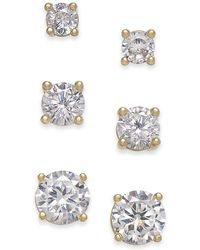 Charter Club - Gold-tone 3-pc. Set Crystal Stud Earrings, Created For Macy's - Lyst
