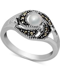 Macy's - Freshwater Pearl (4mm), Marcasite & Crystal Ring In Fine Silver-plate - Lyst