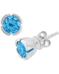 Effy Collection - Effy® Blue Topaz Stud Earrings (1-5/8 Ct. T.w.) In 14k White Gold - Lyst