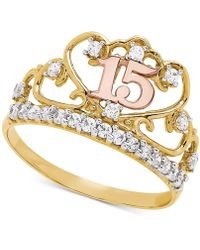 Macy's - Cubic Zirconia Quinceañera Ring In 14k Gold, Rose Gold & Rhodium-plate - Lyst
