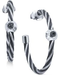 Charriol - Women's Fabulous Black Spinel-accent Two-tone Pvd Stainless Steel Cable Hoop Earrings 03-721-1219-2 - Lyst