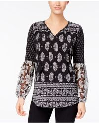 Style & Co. - Embroidered Peasant Top - Lyst