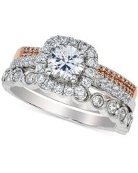 Macy's - Diamond Halo Bridal Set (1-1/2 Ct. T.w.) In 14k White And Rose Gold - Lyst