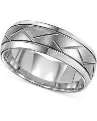 Macy's - Triton Men's Tungsten Carbide 8mm Diagonal Accent Ring - Lyst