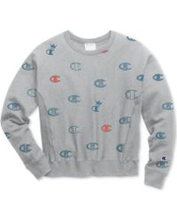 Champion - Logo-print Reverse Weave Sweatshirt - Lyst