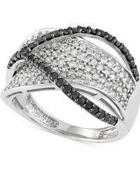 Macy's | Black And White Diamond Crossover Ring (1 Ct. T.w.) In 14k White Gold | Lyst