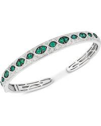 Macy's - Emerald (1-1/5 Ct. T.w.) & Diamond (1/6 Ct. T.w.) Bangle Bracelet In Sterling Silver - Lyst
