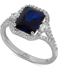 Macy's - Lab-created Sapphire (3 Ct. T.w.) And White Sapphire (3/8 Ct. T.w.) Ring In Sterling Silver - Lyst