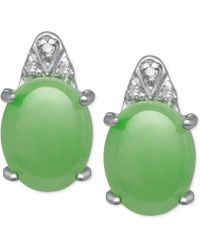 Macy's - Jadeite (8mm X 10mm) And Diamond Accent Stud Earrings In Sterling Silver - Lyst