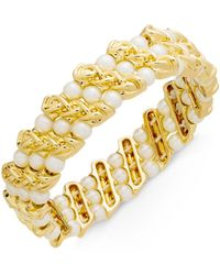 Charter Club - Gold-tone Imitation Pearl & Chain Stretch Bracelet, Created For Macy's - Lyst