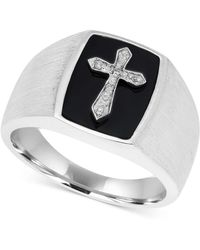 Macy's - Men's Onyx (13 X 9-1/2mm) & Diamond Accent Cross Ring In Sterling Silver - Lyst