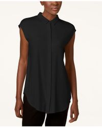 Eileen Fisher - Stretch Jersey Cap-sleeve Shirt, Created For Macy's - Lyst