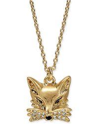 "Kate Spade - Gold-tone Pavé Fox Pendant Necklace, 16"" + 3"" Extender - Lyst"
