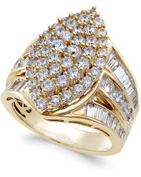 Macy's - Diamond Cluster Statement Ring (3 Ct. T.w.) In 14k Gold - Lyst