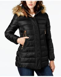 Vince Camuto - Faux-fur-trim Hooded Puffer Coat - Lyst