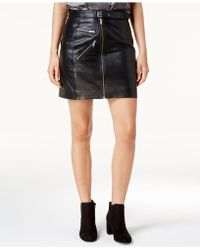 Lucky Brand - Leather Moto Skirt - Lyst