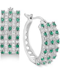 Macy's | Cubic Zirconia Huggie Hoop Earrings In Sterling Silver | Lyst