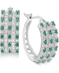 Macy's - Cubic Zirconia Huggie Hoop Earrings In Sterling Silver - Lyst