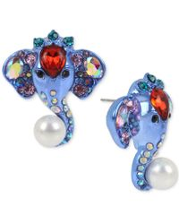 Betsey Johnson - Blue-tone Multi-stone & Imitation Pearl Elephant Button Earrings - Lyst