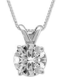 Macy's - Diamond Solitaire Pendant Necklace (3/4 Ct. T.w.) - Lyst