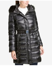 DKNY - Faux-fur-trim Belted Puffer Coat, Created For Macy's - Lyst