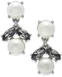 Charter Club - Silver-tone Imitation Pearl & Stone Double Drop Earrings, Created For Macy's - Lyst
