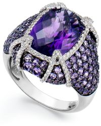 Macy's Sterling Silver Amethyst (9 Ct. T.w.) And White Topaz (1/2 Ct. T.w.) Ring - Multicolour