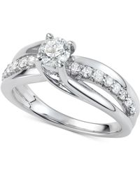 Macy's - Diamond Elevated Twist Engagement Ring (7/8 Ct. T.w.) In 14k White Gold - Lyst