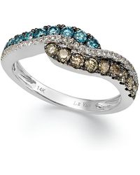 Le Vian - Chocolate, Blue And White Diamond Ring In 14k White Gold (5/8 Ct. T.w.) - Lyst