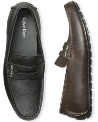 CALVIN KLEIN 205W39NYC - Men's Ivan Tumbled Leather Penny Driver Loafers - Lyst