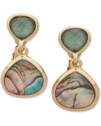 Anne Klein - Gold-tone Abalone-look E-z Comfort Clip-on Drop Earrings - Lyst