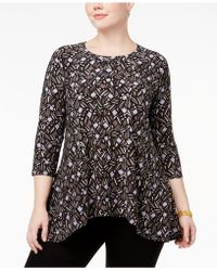 Anne Klein - Plus Size Printed Trapeze Tunic - Lyst
